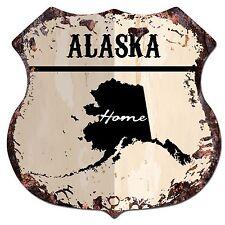 BP-0118 HOME ALASKA MAP Shield Rustic Chic Sign Bar Shop Home Room Decor Gift