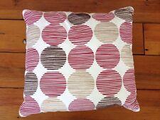 "Contemporary Red Velour Stripes Circles Square Decorative Throw Pillow 16""x16"""