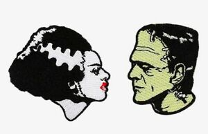 Universal Monsters Frankenstein Monster & Bride Iron-on Embroidered Patch Set