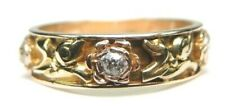 Antique Art Deco Wedding Eternity Band 14K Rose Yellow Gold Ring Sz 7.75 EGL USA