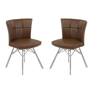 Armen Living Spago Dining Chair, Coffee Faux Leather/Steel, Set/2 - LCSPSIVCBS