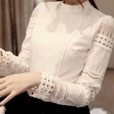 Women Ladies Fashion Chiffon Blouse Shirt Elegant Office Hollow Out Lace Blouse&