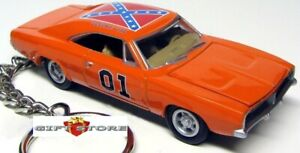 RARE HTF KEY CHAIN 69~1969 ORANGE DODGE CHARGER GENERAL LEE DUKES OF HAZZARD NEW