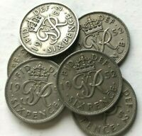 1952 George VI sixpence, scarce date, the key date to the series - MULTIPLE LIST