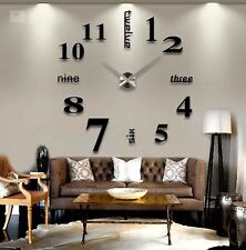 Extra Large Wall Clock 3D Mirrored Home Office Interior Decor Black Silver Timer