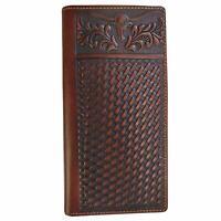 Western Wallet for Men Mens Wallet Longhorn Genuine Leather Long Bifold Wallet