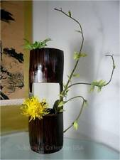 "Japanese 15.5"" H Natural Bamboo Flower Vase Cylinder Shape Ikebana/Made  Japan"