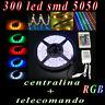 STRISCIA 300 LED RGB SMD 5050 5 METRI STRIP BOBINA LUCE TELECOMANDO CENTRALINA