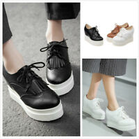 Women Wedge Heels Lace up Casual Round Toe Tassel Platform Shoes Thick Sole Shoe