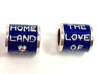 Brighton Love of My Homeland Bead, JC1435, Silver Finish with Blue Enamel, New