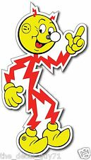 "TESLA Vintage Look Reddy Kilowatt ELECTRIC Car Decal Sticker High Quality 5""X 3"""
