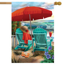 "Beach Life Summer House Flag Nautical Adirondack Chairs 28"" x 40"" Briarwood Lane"