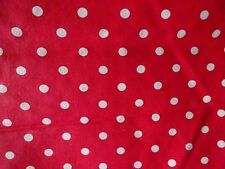"WHITE POLKA DOTS ON RED COTTON BLEND FABRIC - 56"" x 45"""