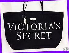 1 Victoria's Secret BLACK White Graphic Bow Tote LARGE Bag Shopper Purse Travel