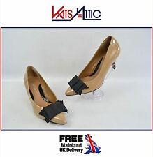 Nude Clarks Softwear Patent Bow Shoes 3 inch heel UK Size 4 EU 37