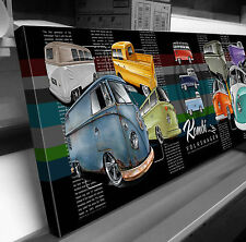 KOMBI VOLKSWAGEN VW TRANSPORTER STRETCHED CANVAS PRINT READY TO HANG CAR ART