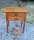 Antique Sheraton Country Civil War Marquetry Table 2 Drawer Dog Pull Work Stand