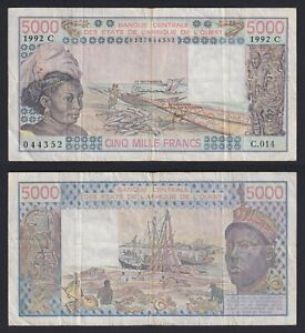 West African States 5000 francs 1992 (Signature 24) BB/VF  B-10
