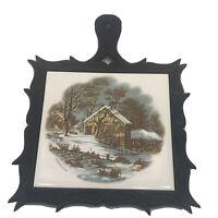 Currier And Ives VTG Old Homestead in Winter Ceramic Tile Cast Metal Trivet