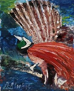 ANDRE DLUHOS ORIGINAL OIL PAINTING Wildlife Exotic Tropical Bird Color Feathers