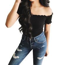 Fashion Women's Casual Off Shoulder Crop Tops Summer Long Sleeve T-Shirt Blouse