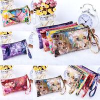 Women Ladies Fashion PU Leather Wallet Button Zip Purse Lady Long Handbag Bag