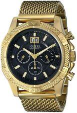 NEW GUESS Men's U0205G1 Mesh Gold-Tone Chronograph Watch