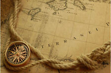 Enmarcado impresión mapa náutico del globo con brújula (Imagen Cartel Océano Mar)