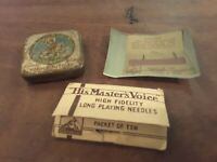 Collectable vintage gramophone needles tin and packaging