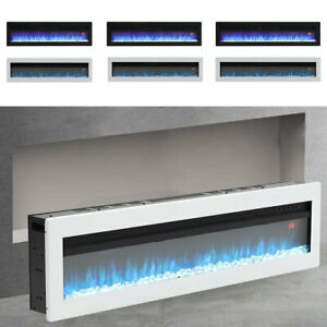 """60"""" Slim Wide Electric Fireplace Wall Mount Recessed Into Fire 9 Fuel Bed Colors"""