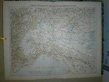 Carte 19° couleur  Grand format Carte physique et militaire des Alpes et du Pô