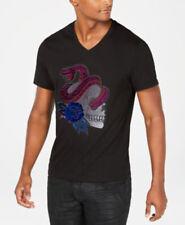 New INC International Concepts Skull Snake Rose Black Patch Tee T Shirt XL