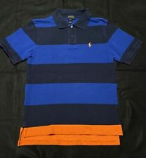 Navy Orange and Blue Striped Ralph Lauren Polo Size L (14-16) Collared Shirt