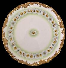 """LIMOGES 12 1/2"""" CHARGER DAISY PATTERN TRESSEMANN & VOGT FACTORY HANDPAINTED"""