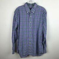 Vineyard Vines Mens Shirt Size L Slim Fit Whale Purple Blue Green Plaid Cotton