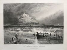 1875 Antique Print; St Michael's Mount, Life-Boat, Cornwall after Birket Foster
