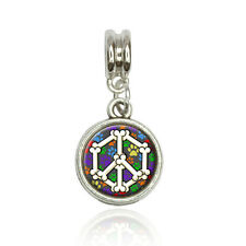 Dog Bone Peace Sign Euro European Italian Style Bracelet Bead Charm