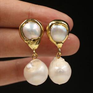 new beauty 13 mm White Keshi Baroque Pearl Earrings