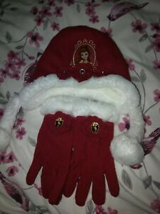 Disney Store Fushia Pink Belle Hat And Gloves Size XS 3-6yrs
