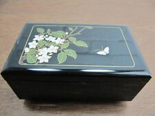 Vintage Japanese Red Black Lacquer Diorama Music Jewellery Box, Working