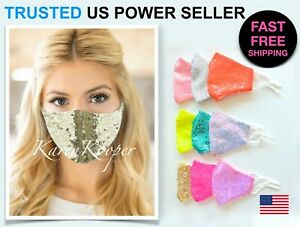 Fashion Party Face Mask Bling Sequin Wedding Shiny Sparkly Glitter Washable USA