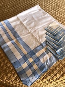 """54"""" Square White/Blue/Yellow Cotton Tablecloth with 6 Napkins"""