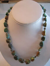 "STERLING SILVER & TURQUOISE NECKLACE - 18"" LONG - BBA-5"