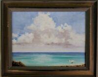 Vintage Signed Oil Painting Beach Scene Florida Art Bird Walter Ashe Seascape