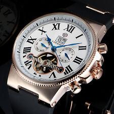 Vintage Gold Men's Mechanical Watch Steampunk Date Roman Black Band Winding Dial