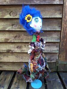 Recycled - upcycled Mermaid Hand Made Rag Cloth Doll Sea Creature Folk Art Goth