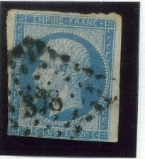 FRANCE;  1853 early classic Napoleon Imperf 20c. used value