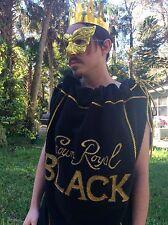Handmade Crown Royal BLACK Bag Costume Unisex Mardi Gras Whiskey Bartender Party