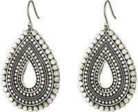 Lucky Brand antique silver Tribal Teardrop Statement Earrings