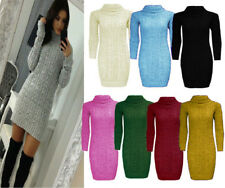 WOMENS LADIES CABLE KNITTED LONG SLEEVE POLO ROLL NECK STRETCH JUMPER DRESS 8-22